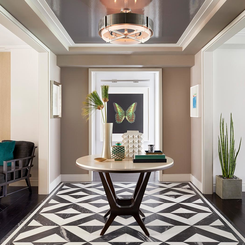 statement black and white graphic stone tile floor