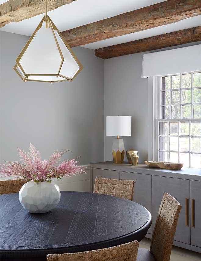 Beach style dining room interior design in Bridgehampton New York by Darci Hether