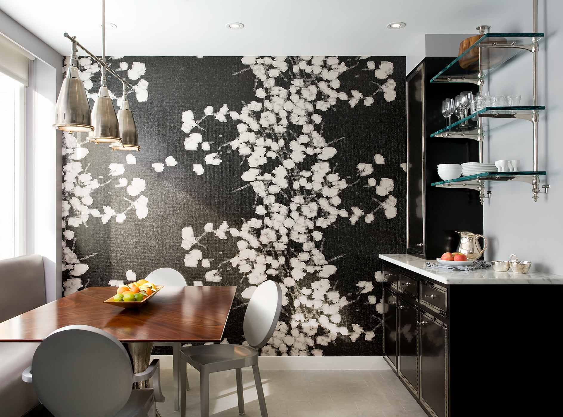 central park west kitchen black and white floral wallpaper - darci hether new york - interior design