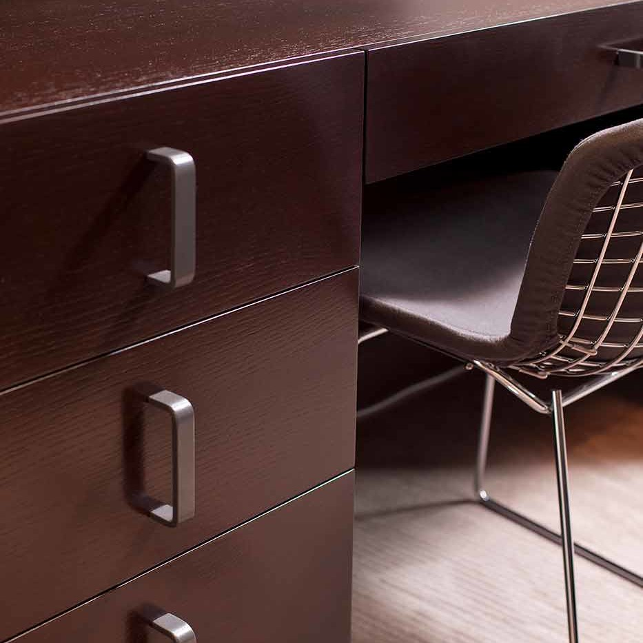 Penthouse apartment wooden desk details in a NYC penthouse interior design project