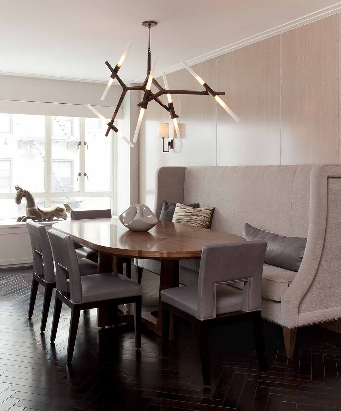 custom banquette we upholstered in lakeshore by holly hunt
