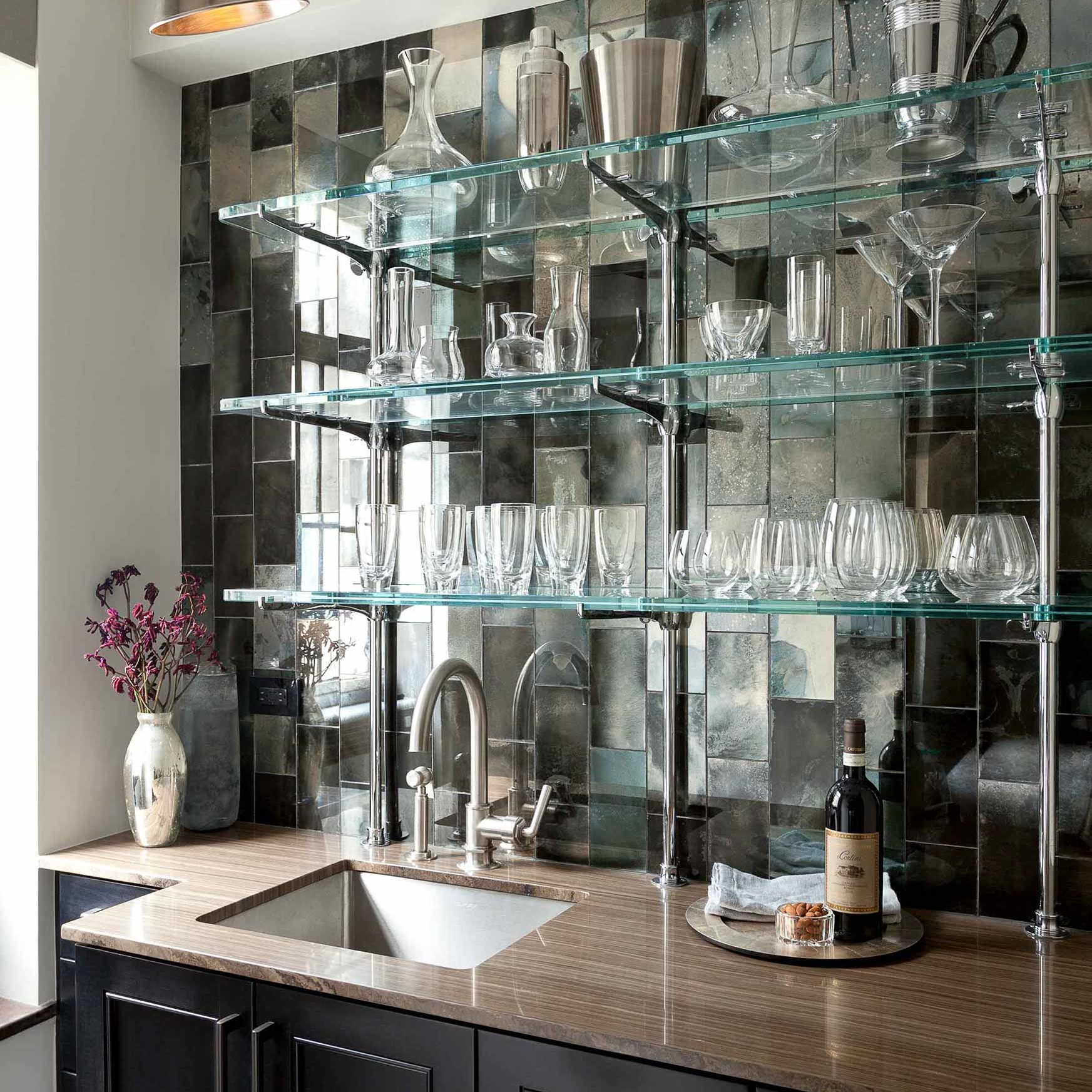 Kitchen turned into a full-service bar in a NYC apartment