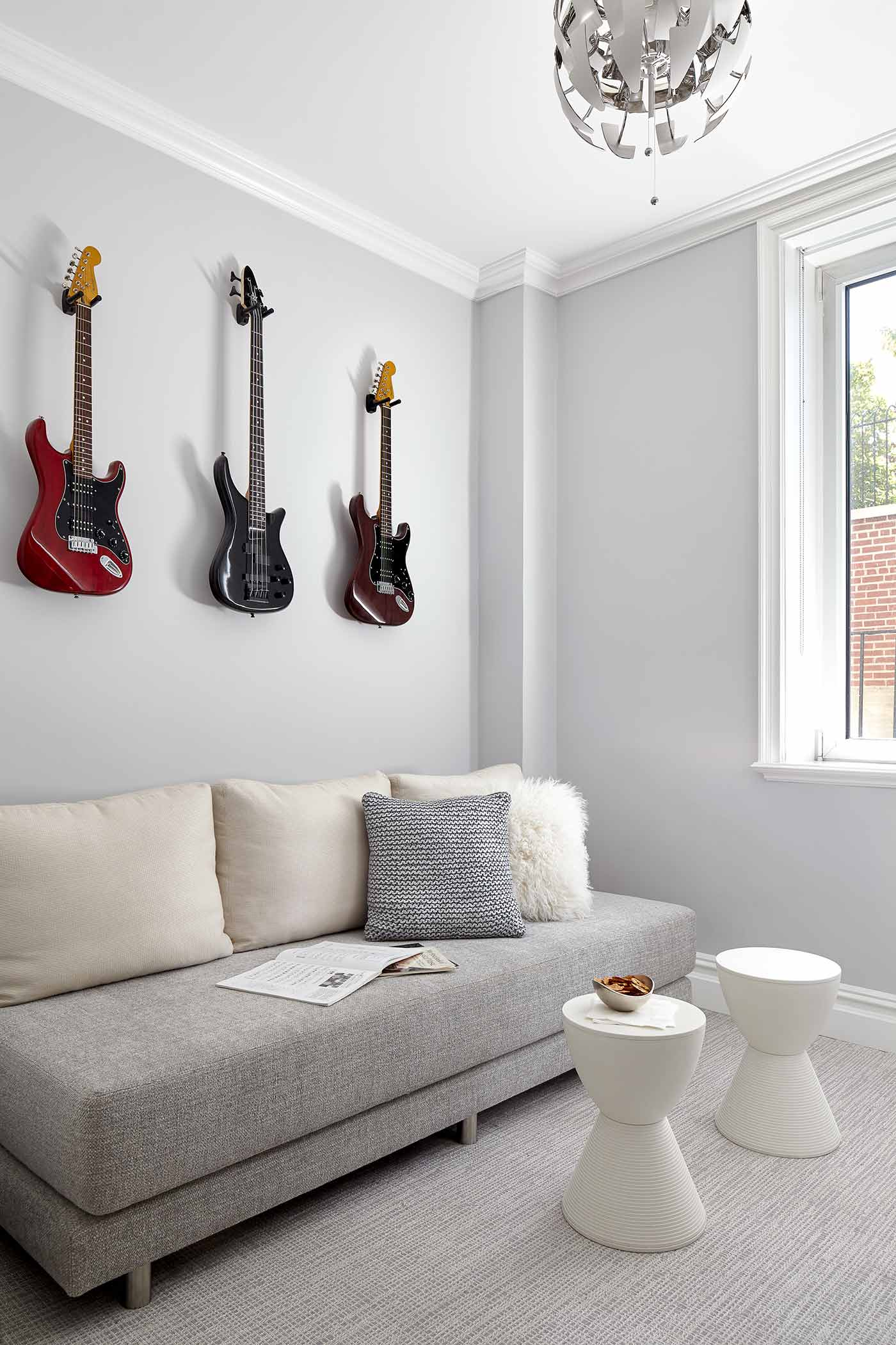 Fun and relaxed kids lounge for playing music and hanging out with friends in a NYC apartment