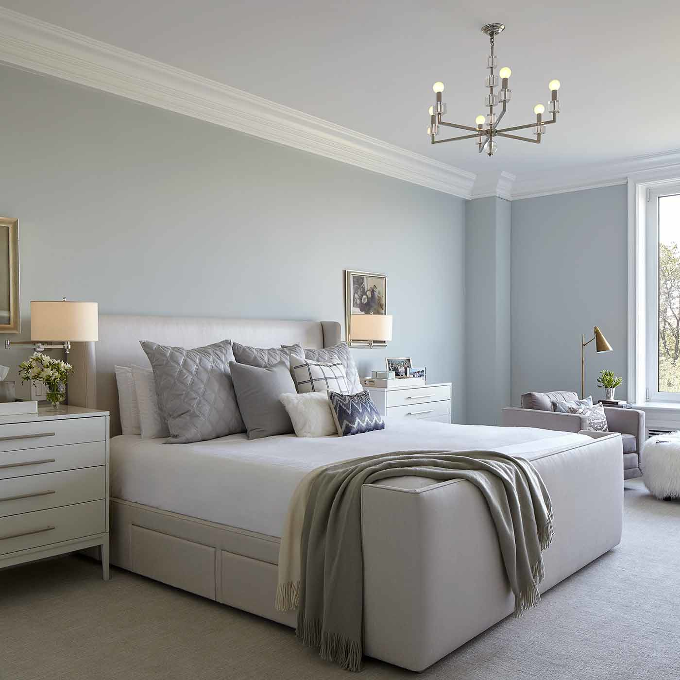 Tranquil and serene master suite in NYC designed by Darci Hether New York