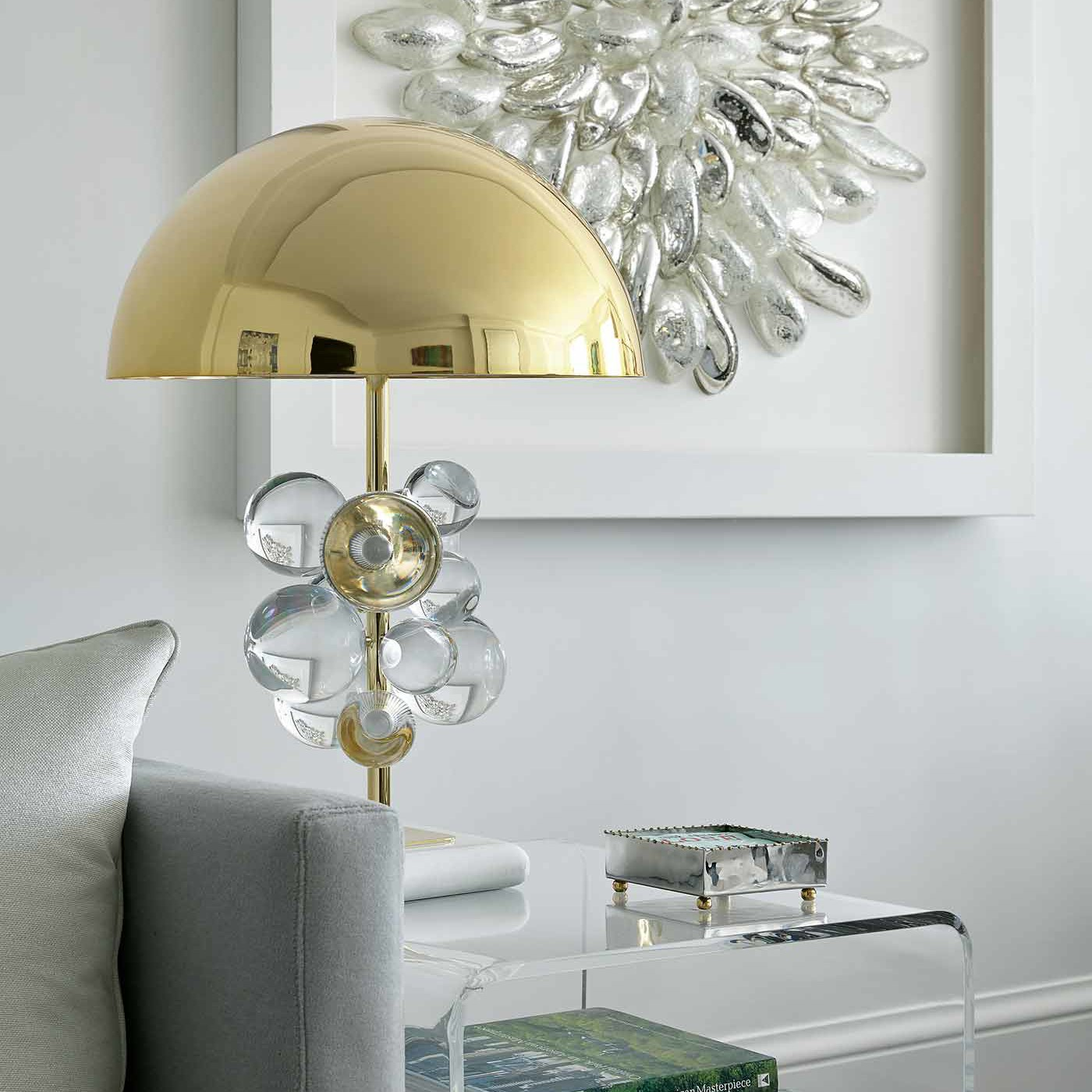 NYC apartment living room interior design with fun, funky accessories, lighting and accent furnishings