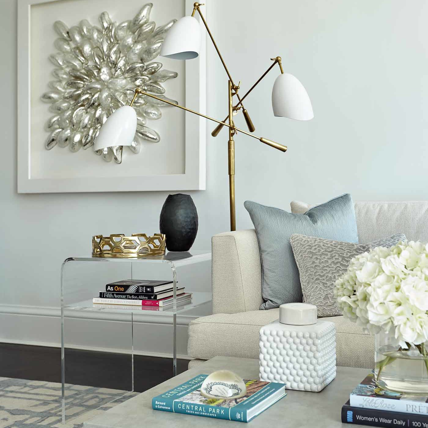 Living room interior design with fun accessories, lighting and accent furnishings by Darci Hether New York