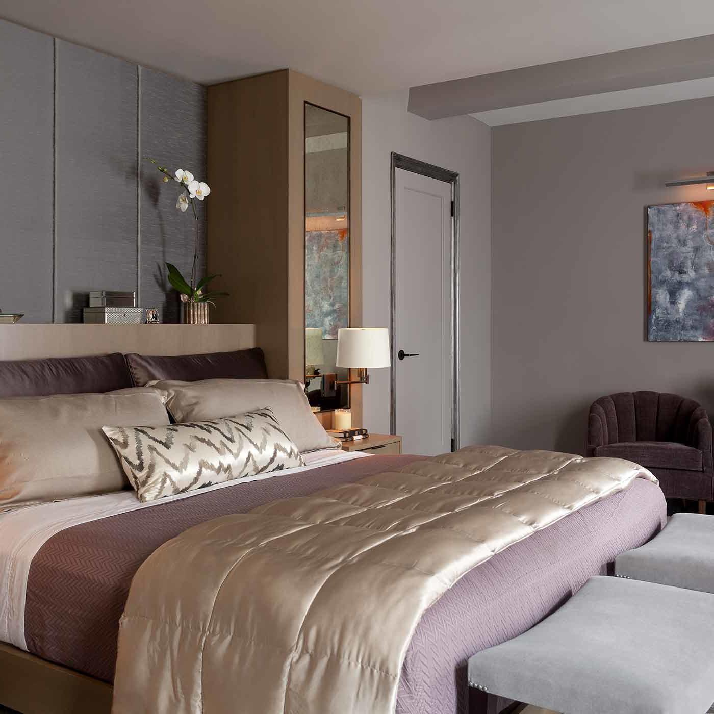 Contemporary pied-à-terre bedroom interior design by Darci Hether New York