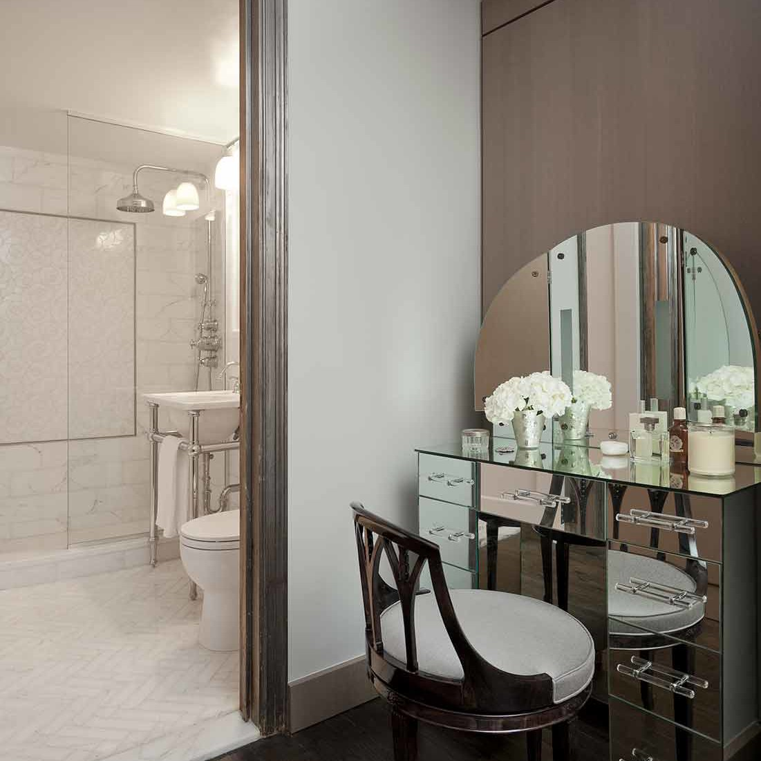 Dressing room located conveniently off of the bath in a NYC apartment