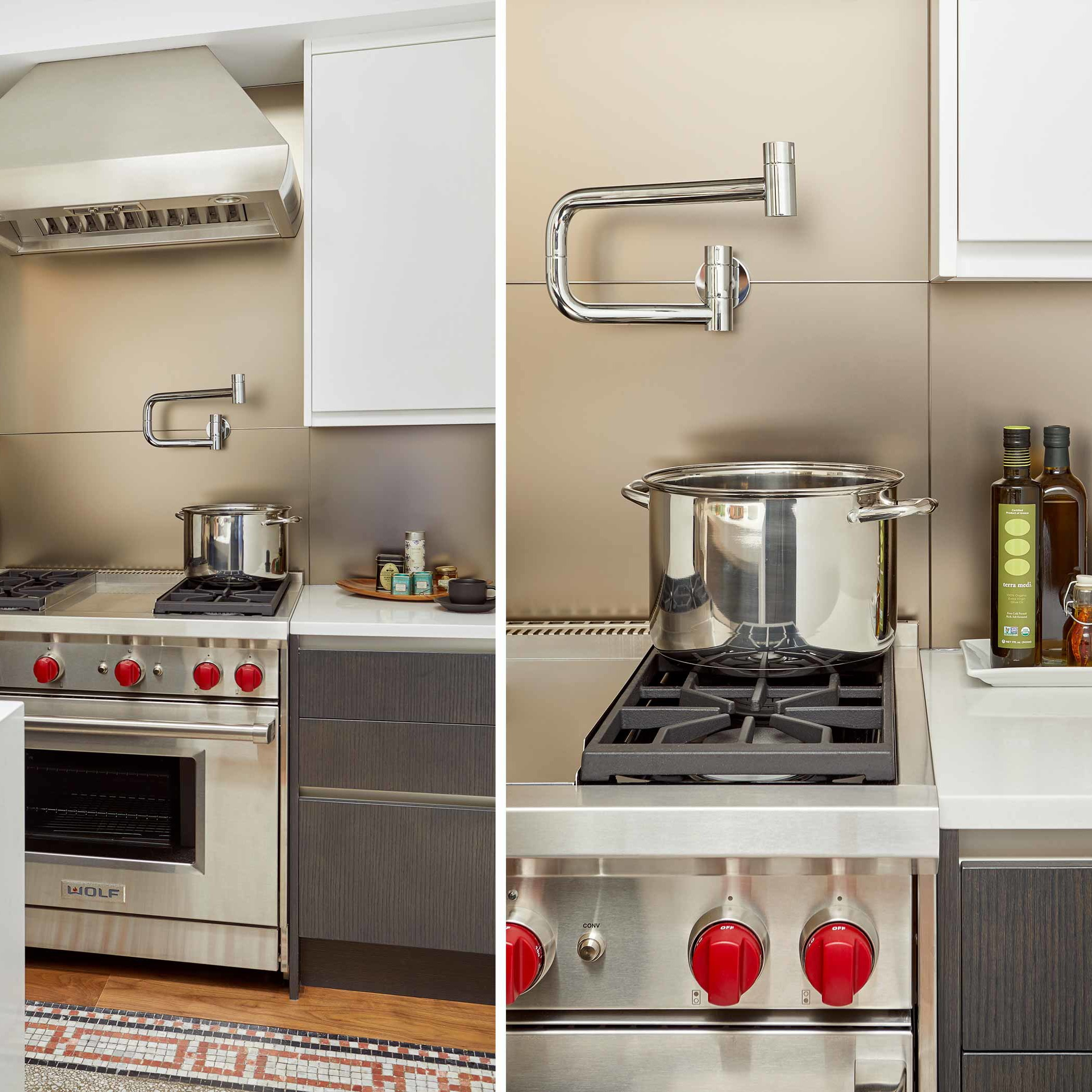 Contemporary pot filler in a Tribeca apartment kitchen