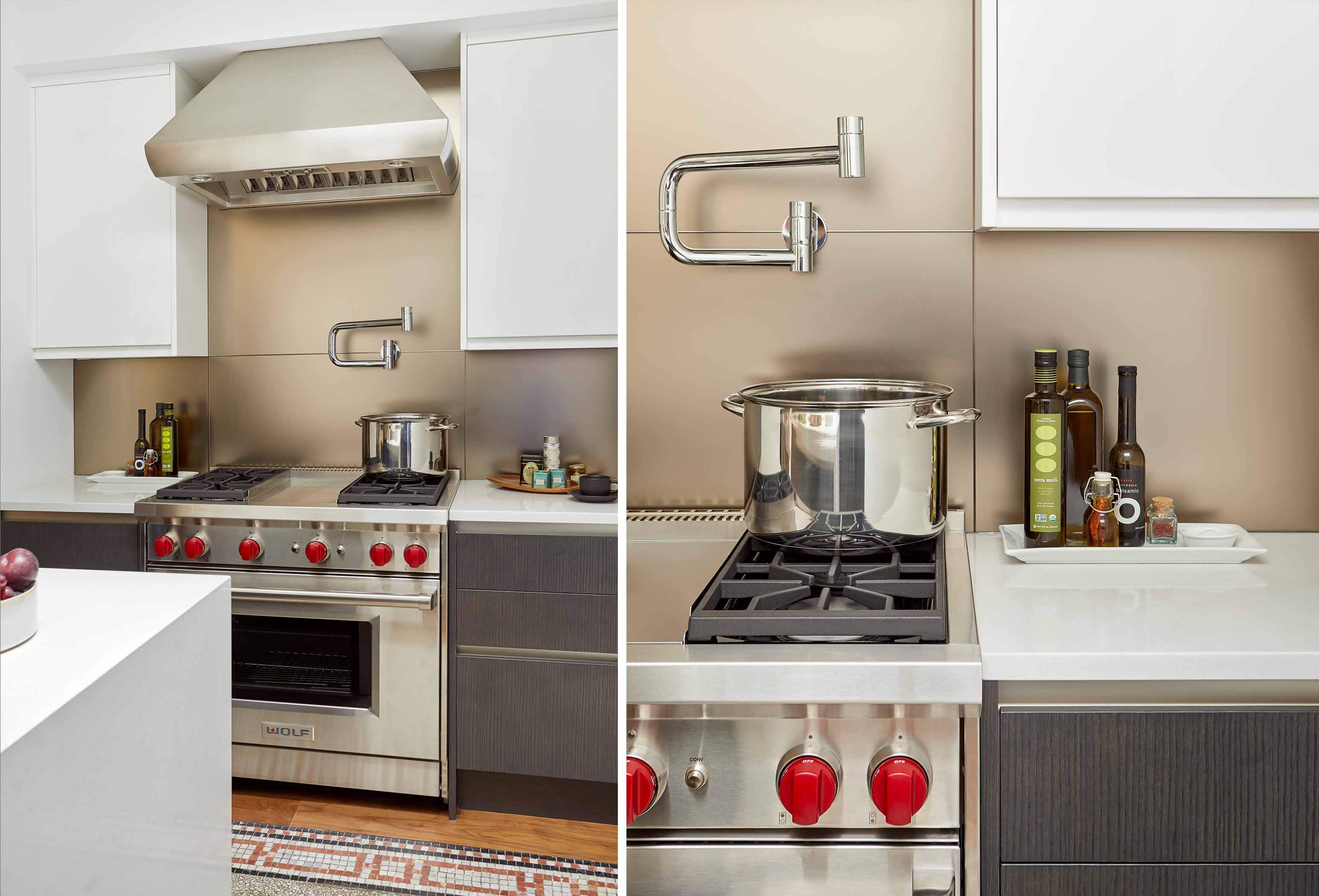 tribeca kitchen with pot filler, wolf oven, metallic backsplash, and mixed metal finishes - darci hether new york