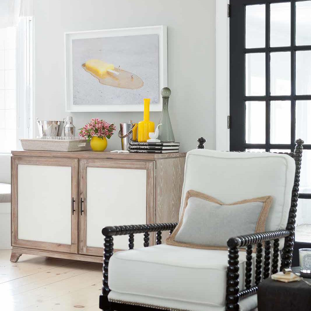 Beach style family room interior design by Darci Hether in Bridgehampton