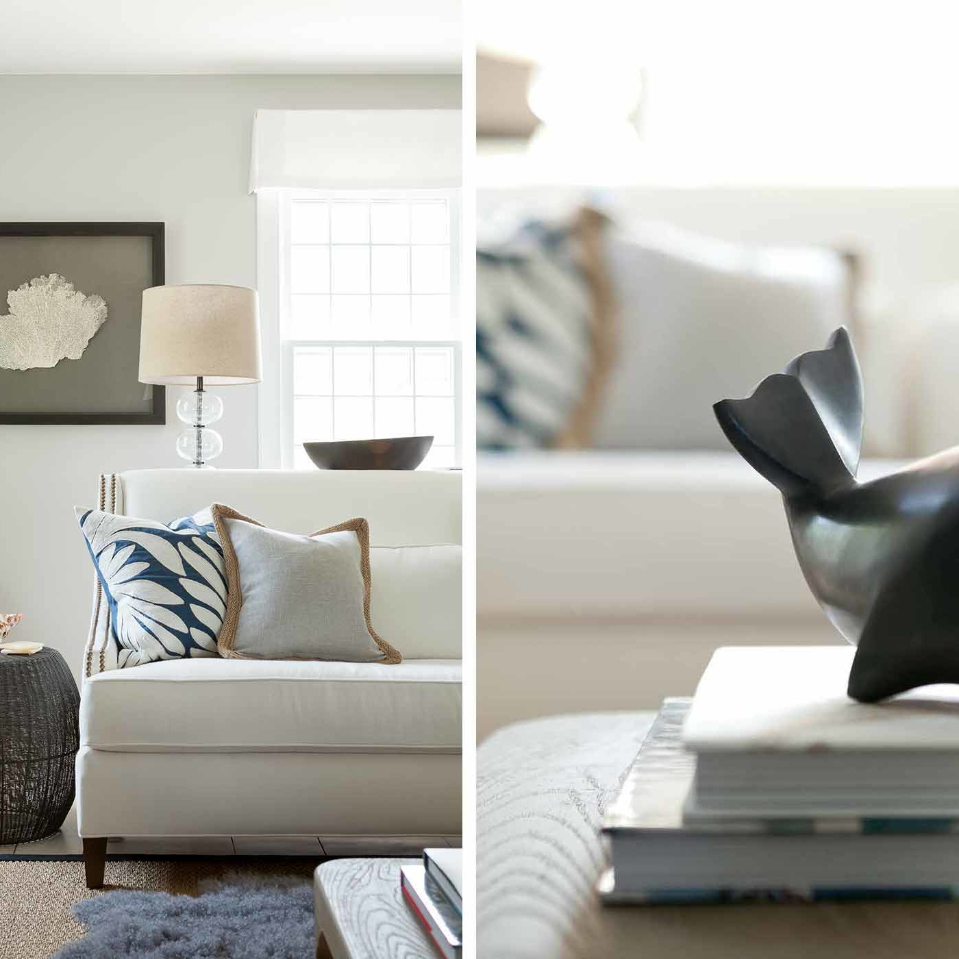 Beach style living room decor details in a Bridgehampton living room by Darci Hether New York