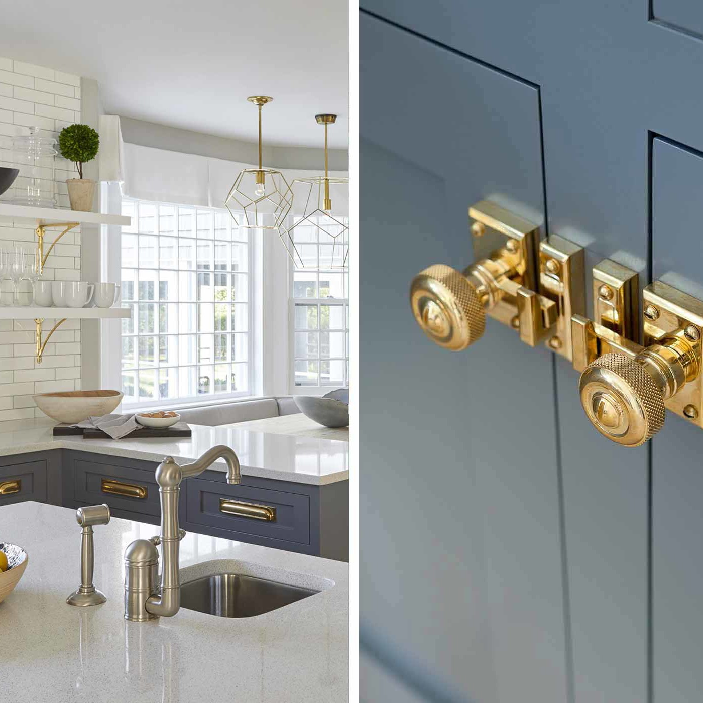 bridgehampton kitchen with brass hardware