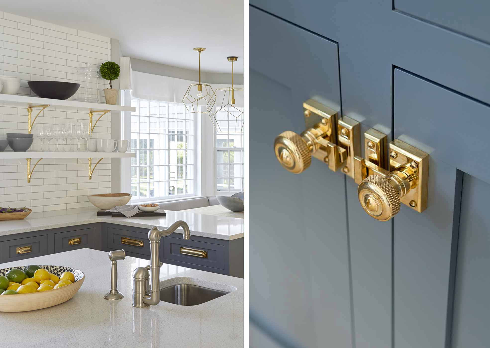 bridgehampton kitchen with brass hardware