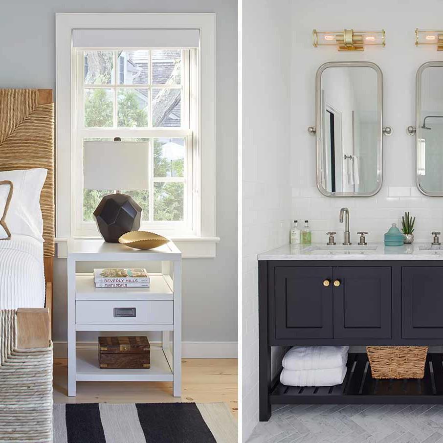 Bridgehampton beach house bedroom and bathroom interior design