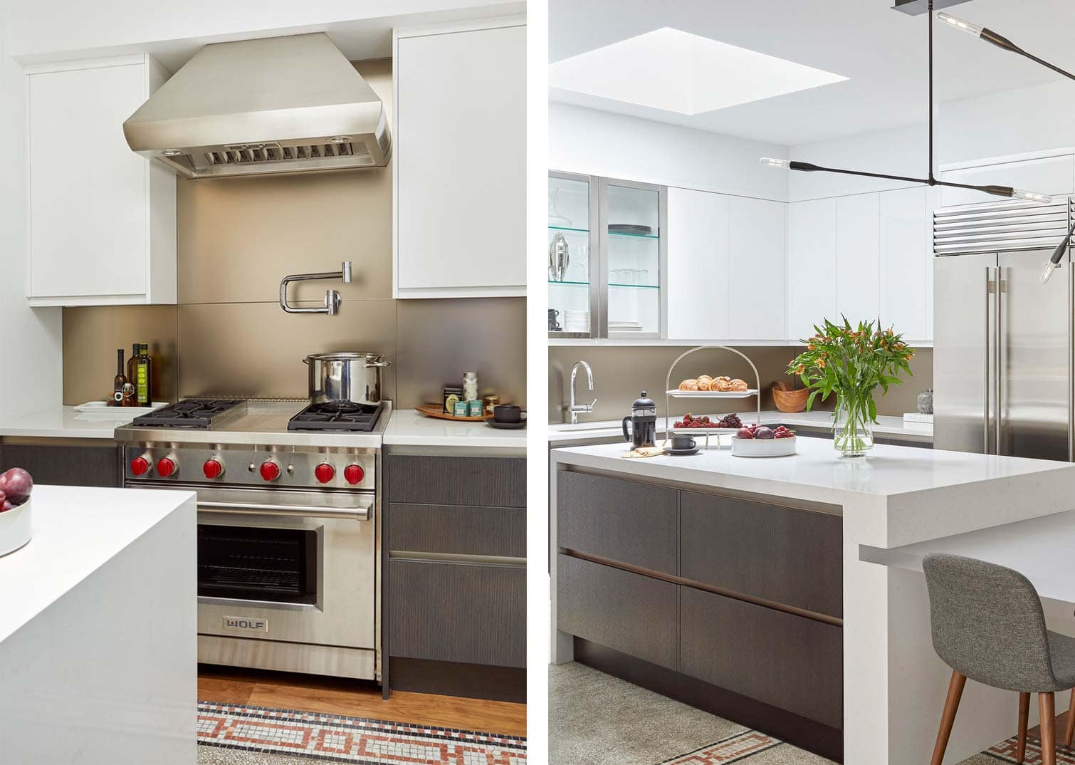 contemporary kitchen with mixed metals