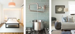 feature wall- contemporary pot filler - white beach living room