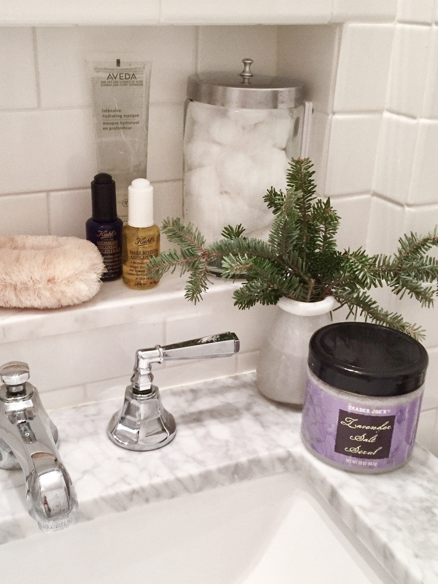 chic winter skincare products subway tile bathroom