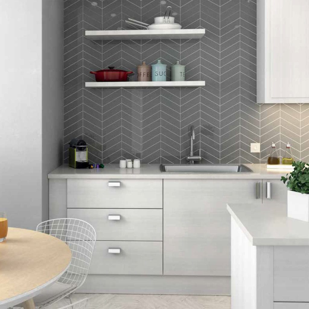 chevron grey tile backsplash
