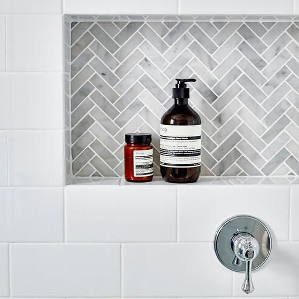 herringbone tile inset subway tile