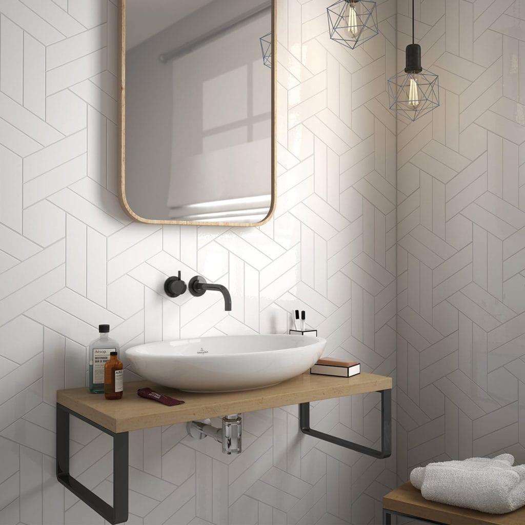 geometric tile wall bathroom