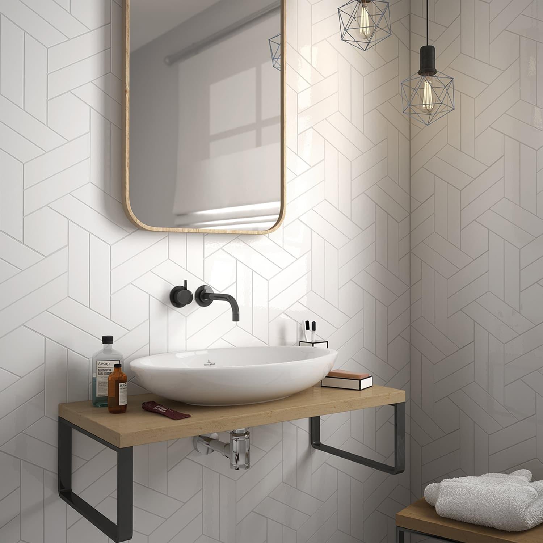 geometric tile wall bathroom