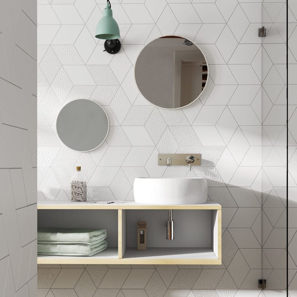 rhombus white diamond tile backsplace