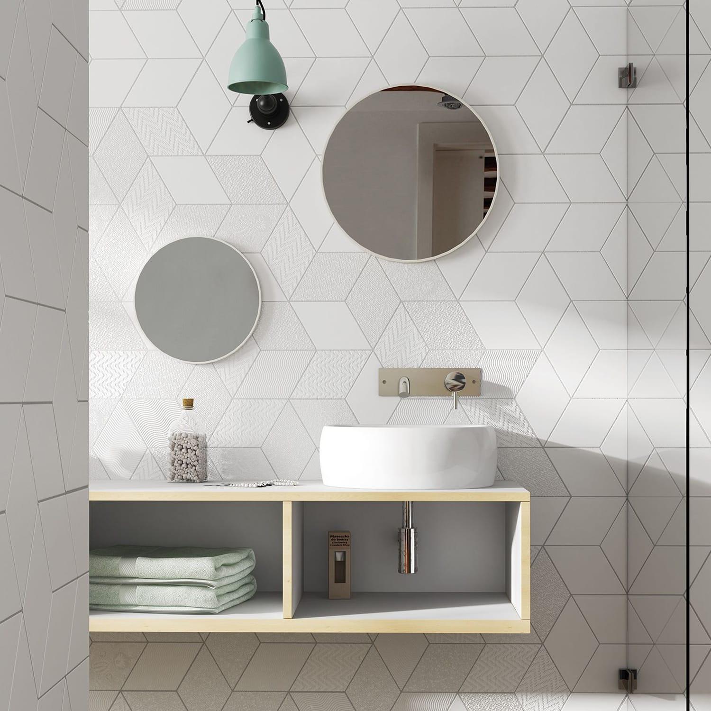 rhombus white diamond tile backsplace