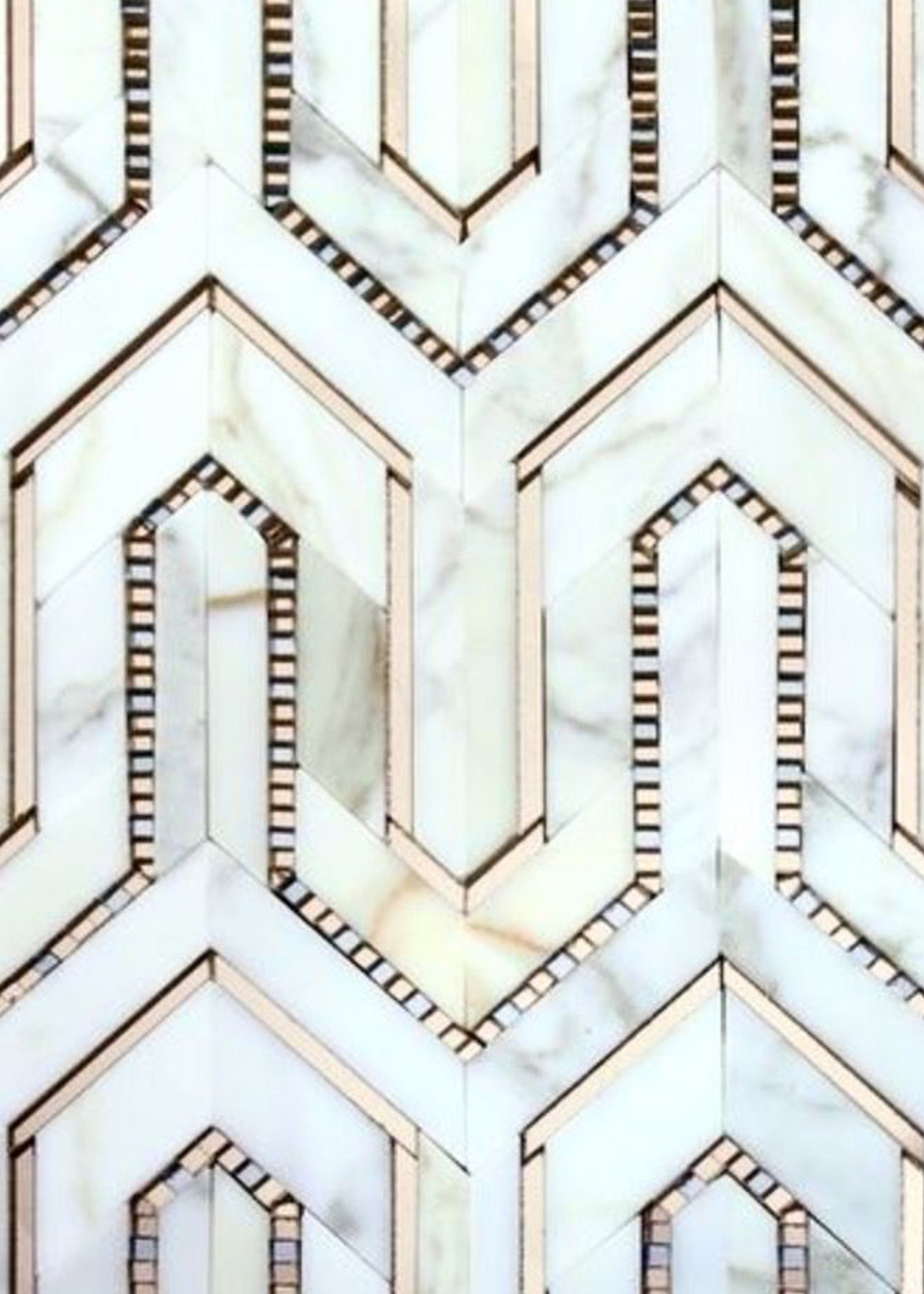 art deco marble metallic tile