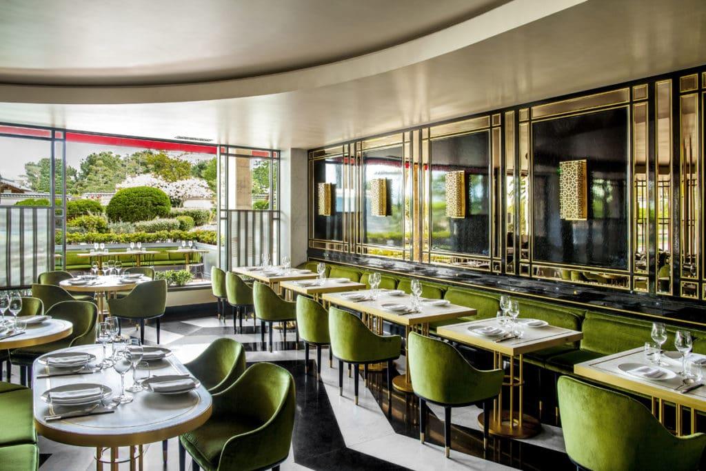 acid green restaurant interior