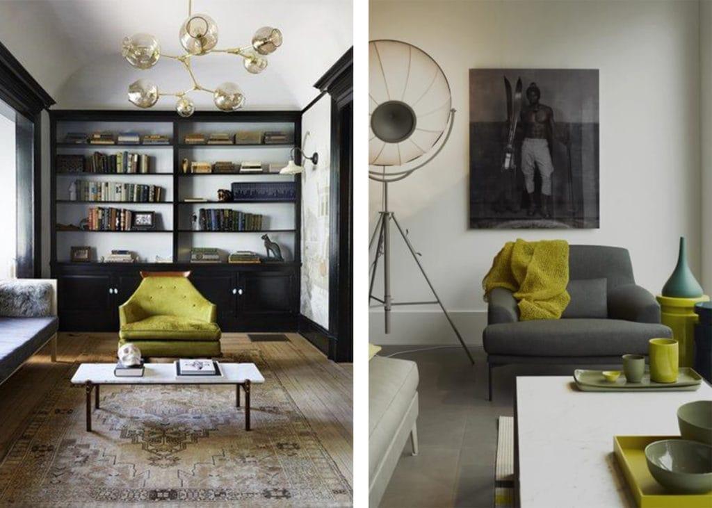 acid green interior decor accents