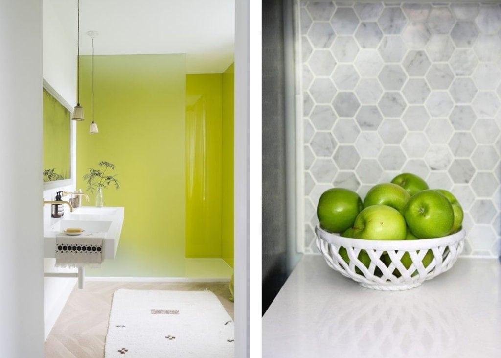 acid green accents kitchen bathroom