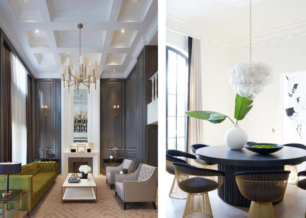 neutral rooms with acid green accents