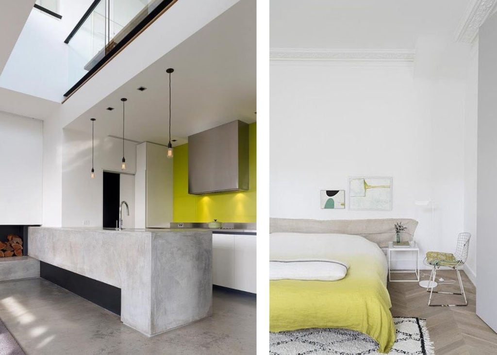 acid green citron accent wall and duvet