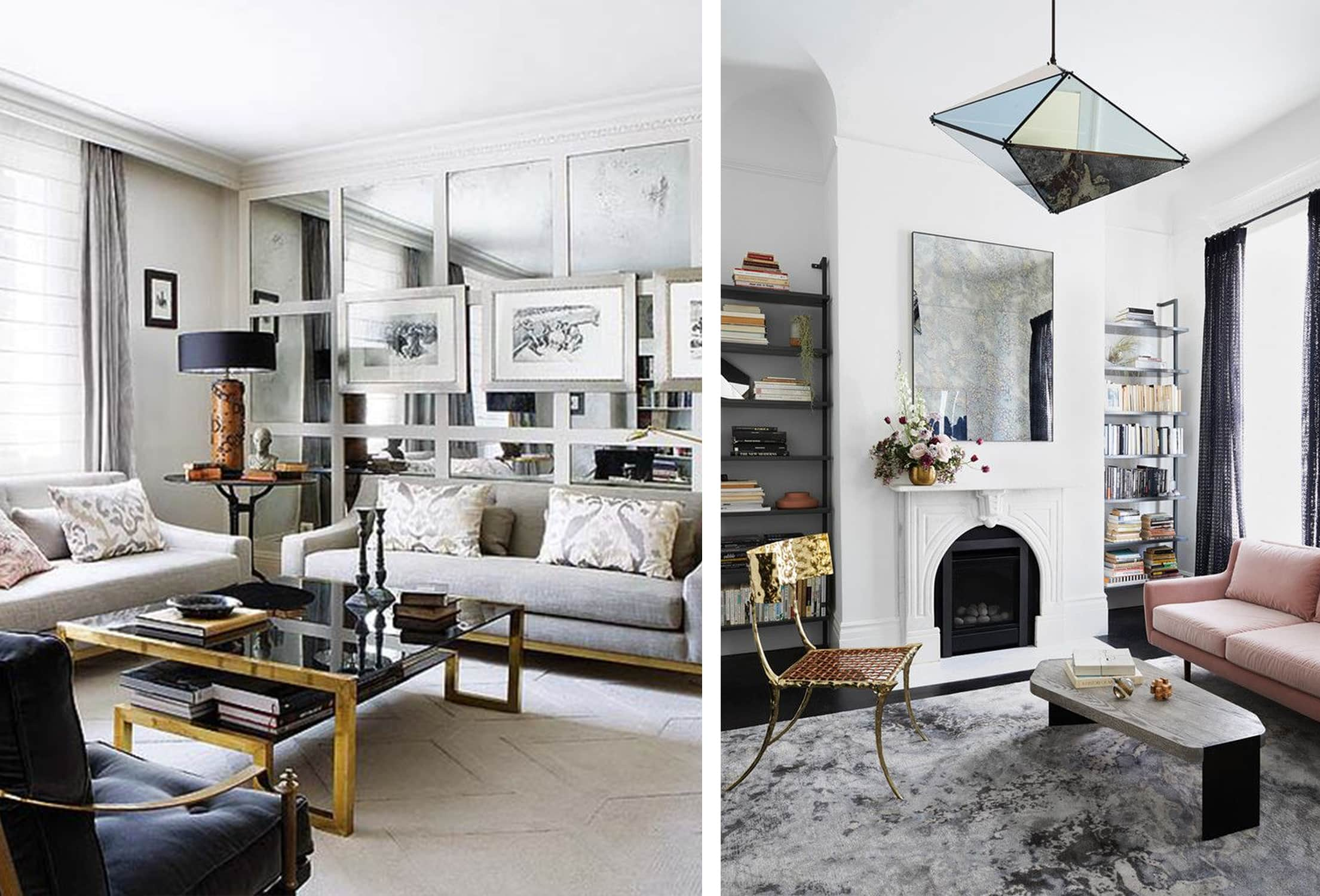 mixed metal accents in the living room