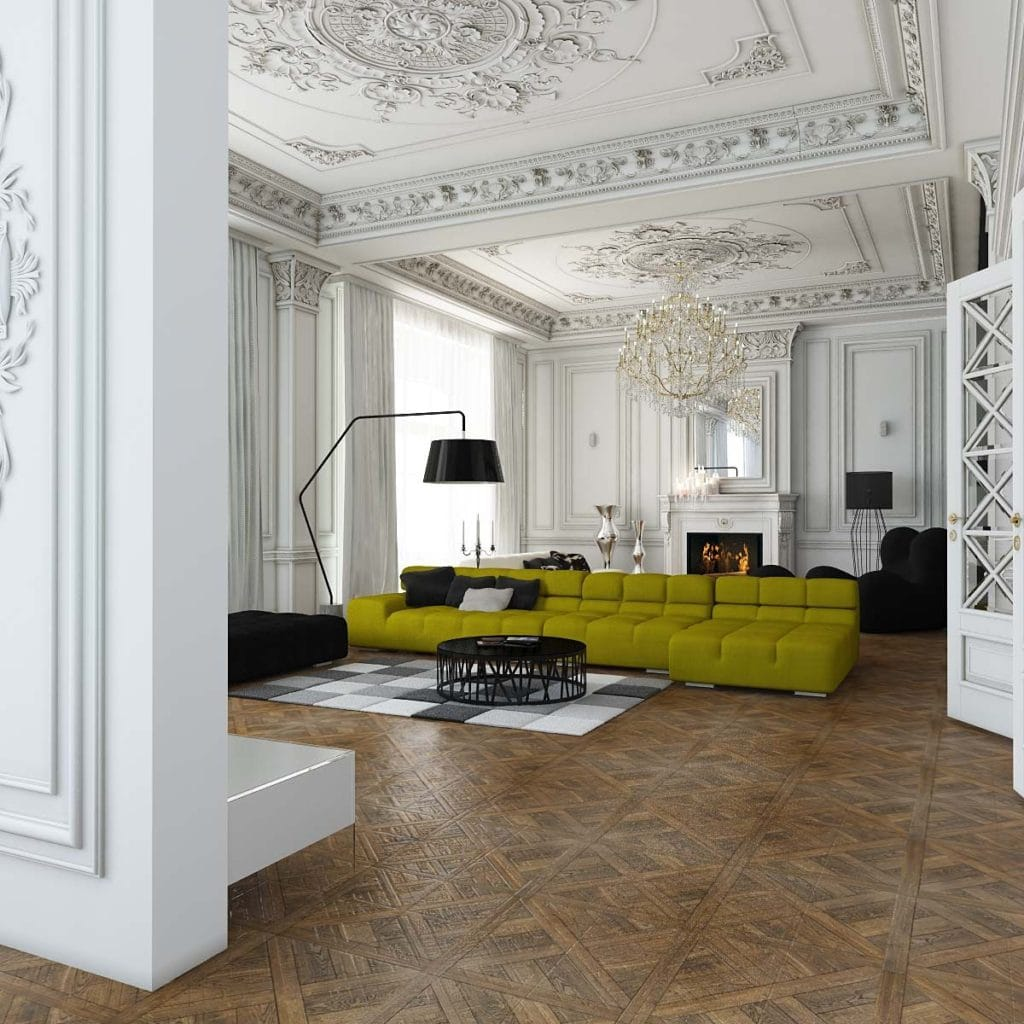 acid green sofa in white room