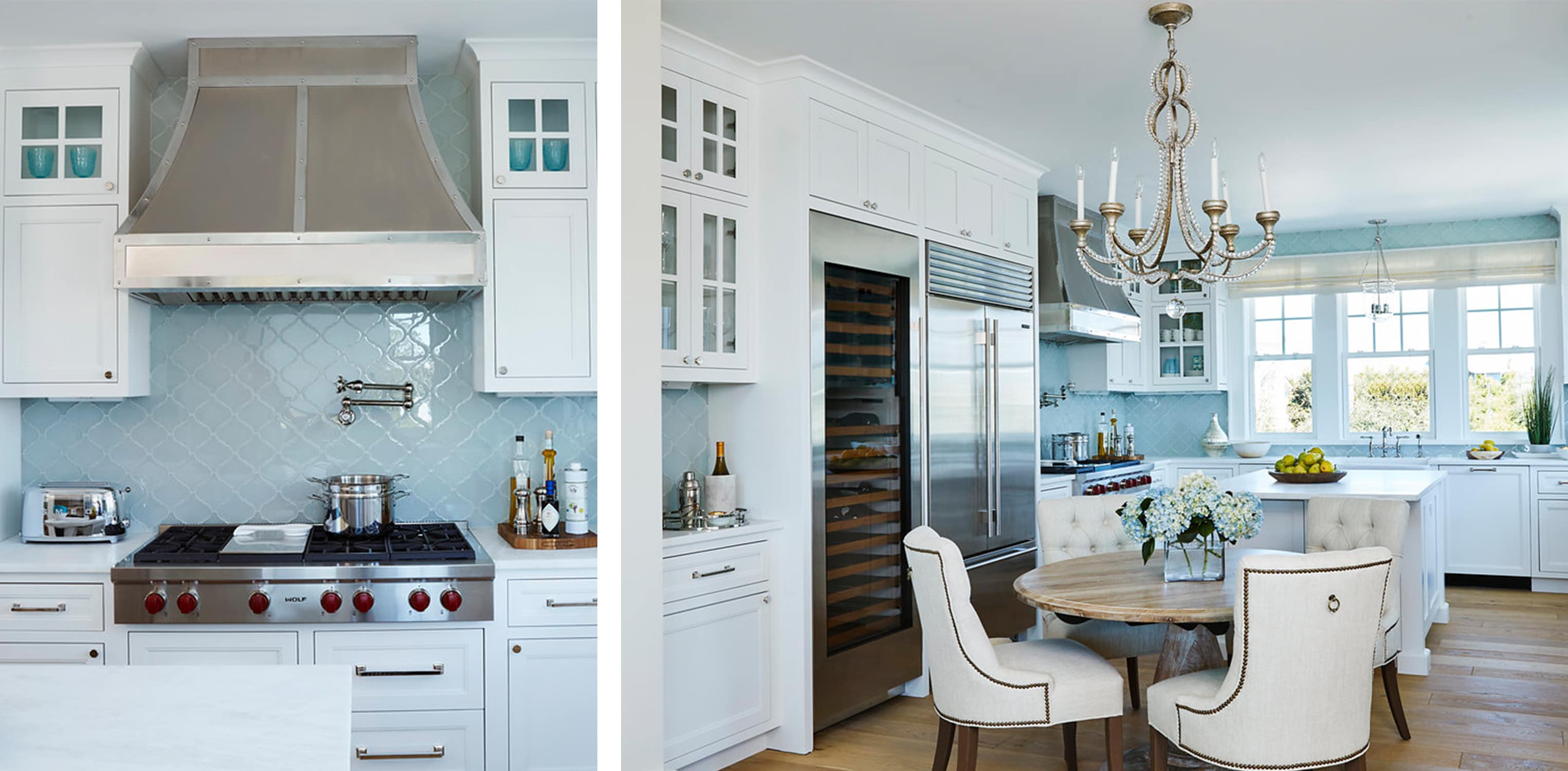 luxe florida beach house kitchen with light blue tile, chandelier, wolf range, and pot filler - darci hether new york