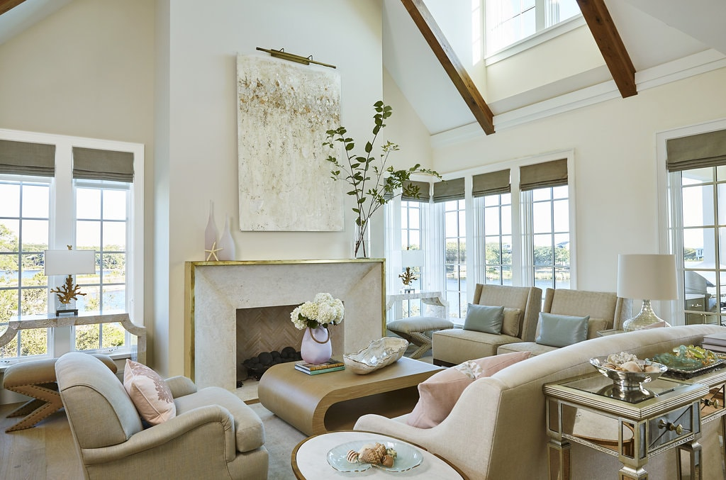florida beach house living room with natural light and blush accents. - darci hether new york