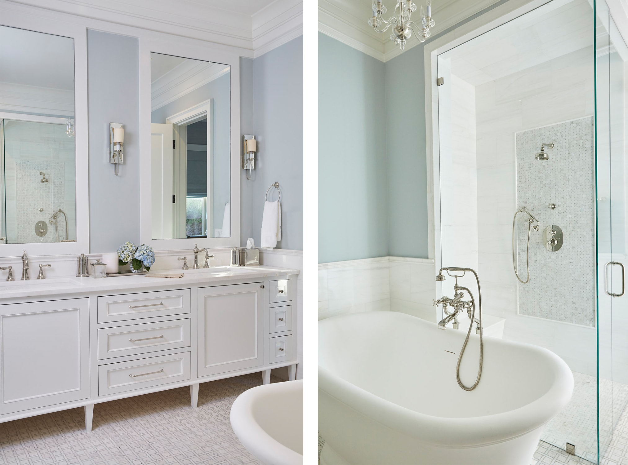 florida beach house luxurious spa master bathroom with a double vanity, deep soaker tub, shower, and light blue walls. - darci hether new york