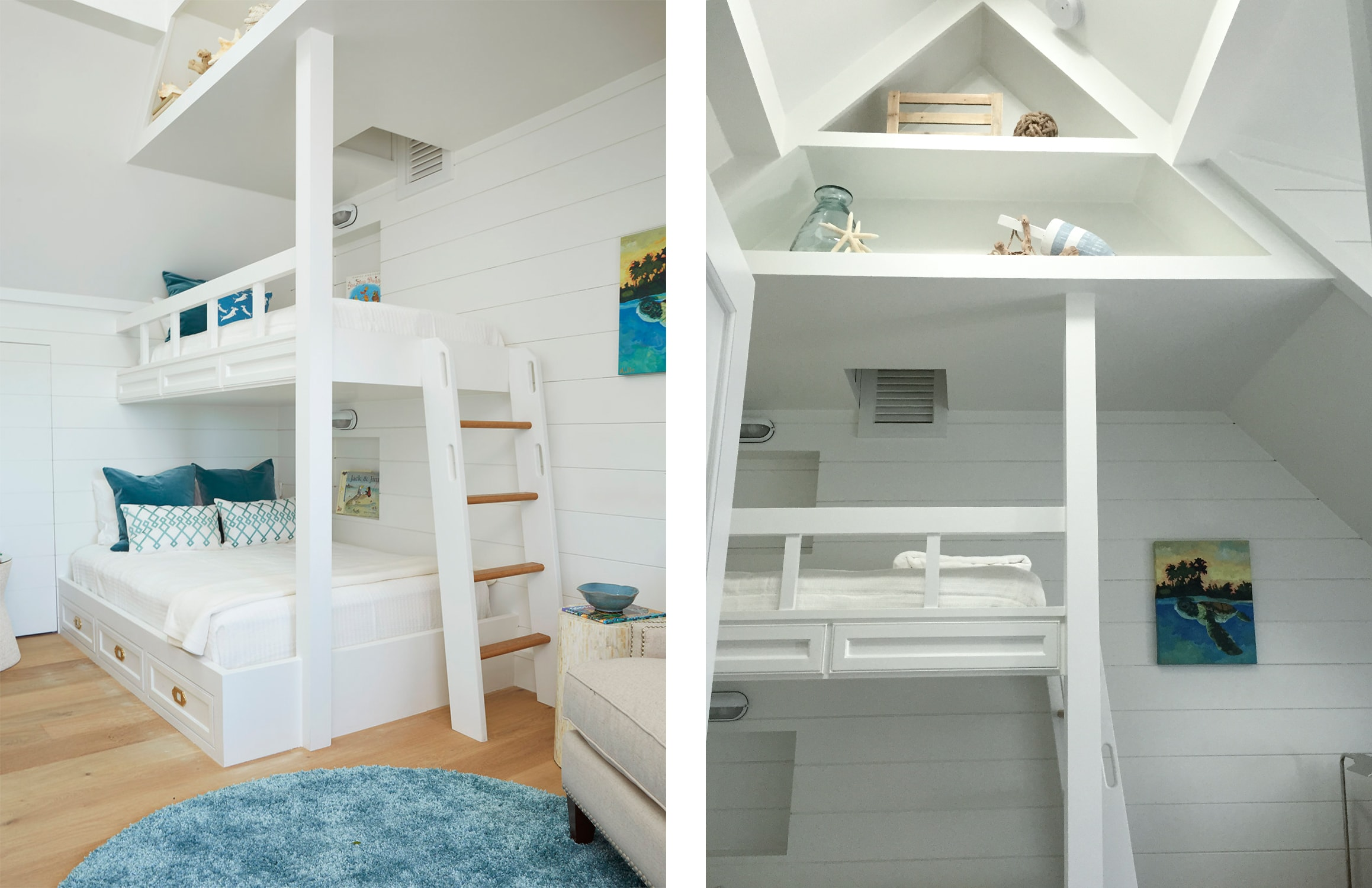 built-in kids bunkbed in our florida beach house project. shiplap walls, blue accents, and built-in shelving. - darci hether new york
