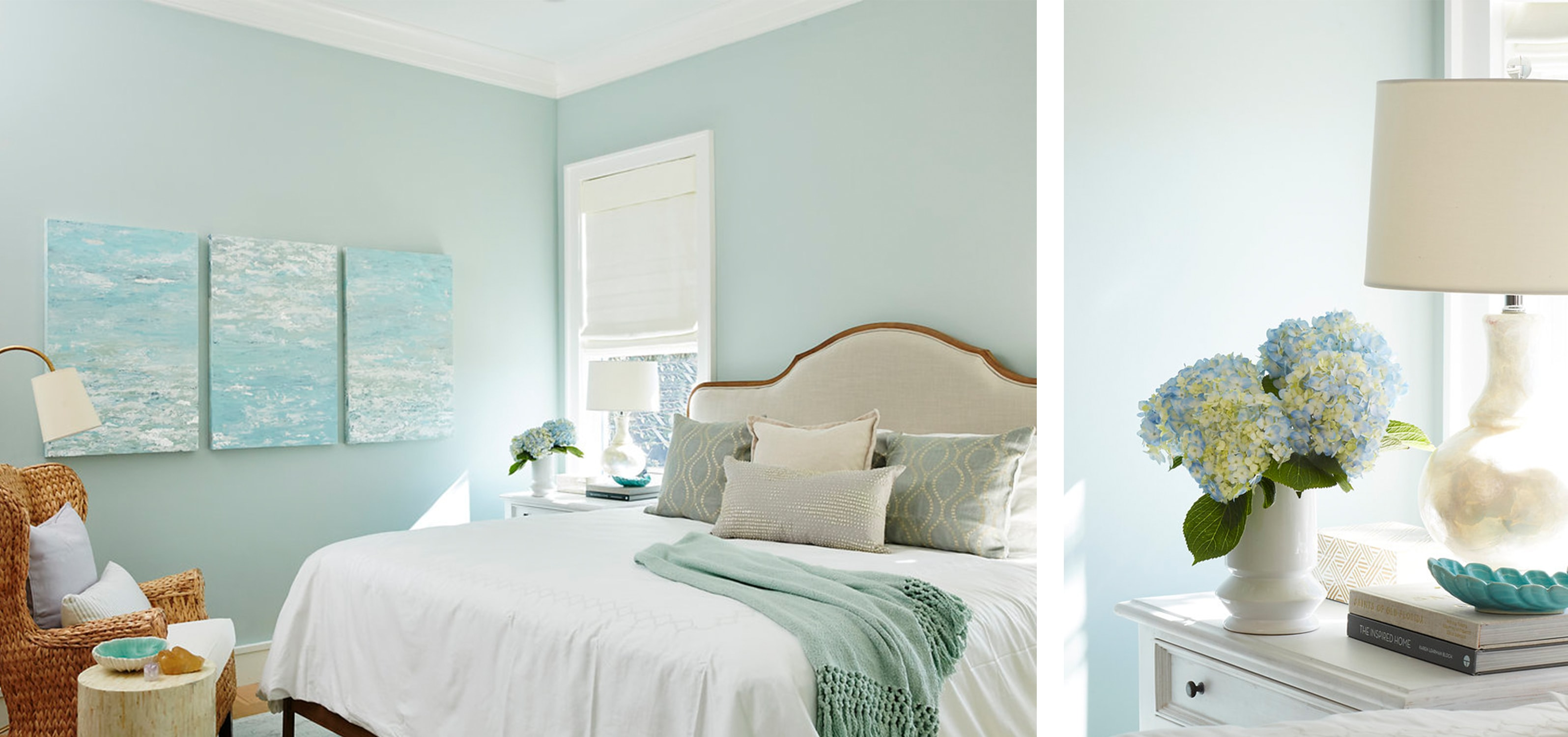 florida beach house guest bedroom with a wicker side chair and blue accents. - darci hether new york