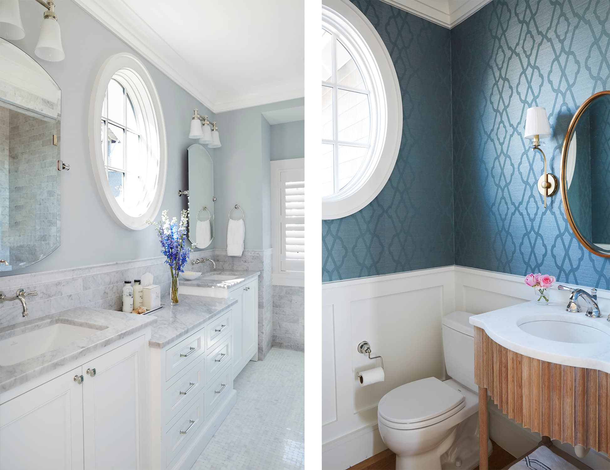 blue florida double vanity master bathroom and wallpapered powder room - darci hether new york