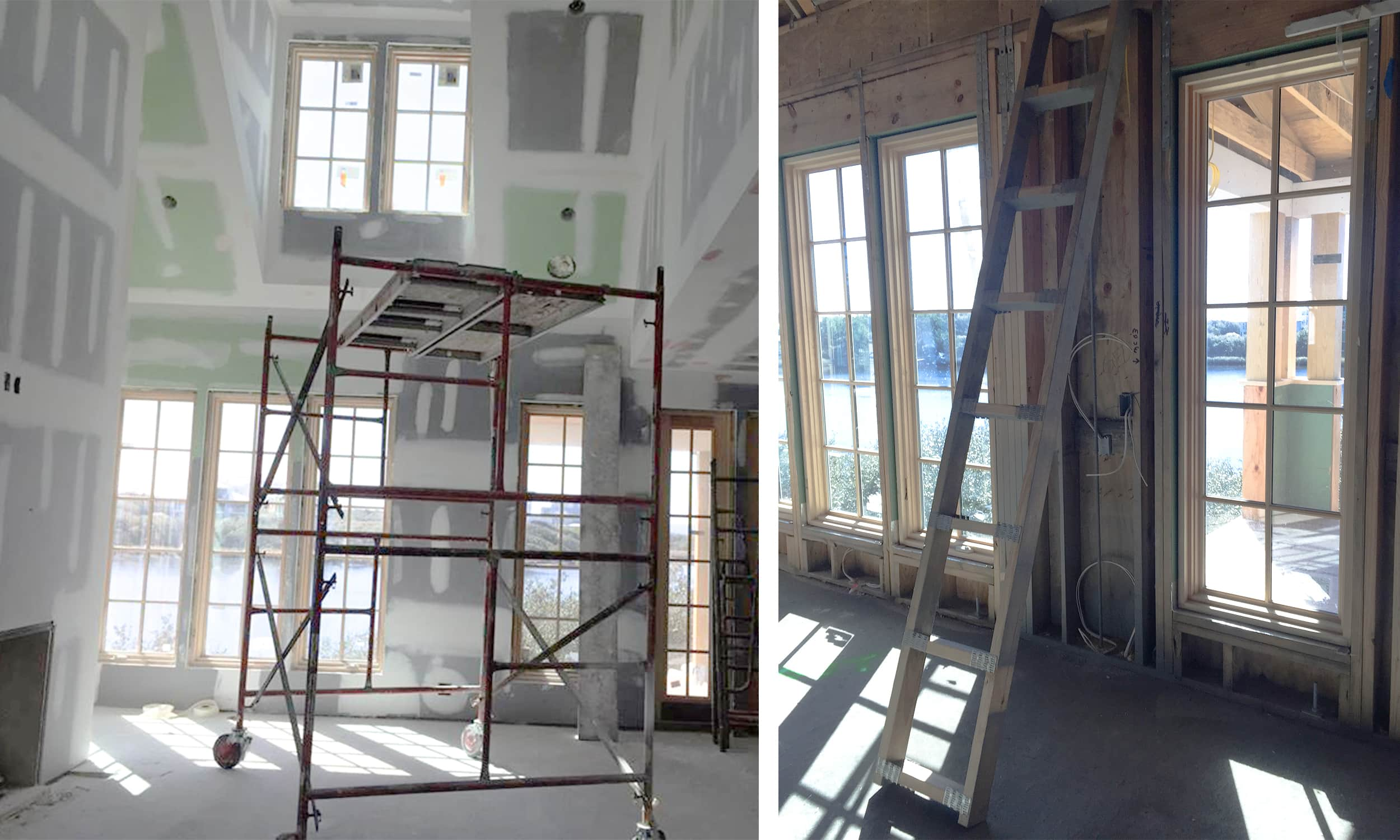 work in progress at the watersound beach living room - the drywall goes up - darci hether new york