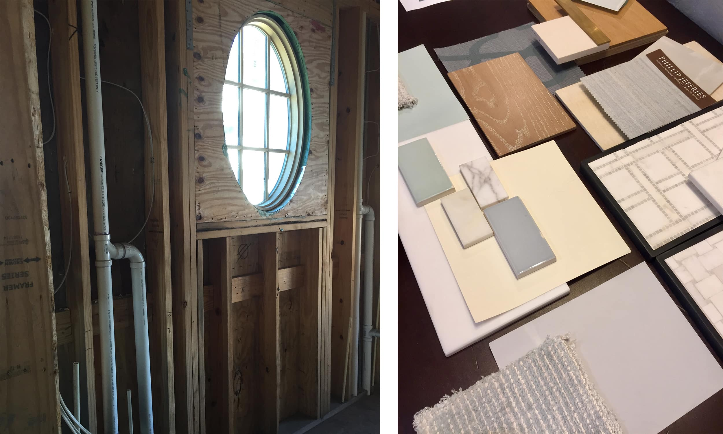 watersound beach, fl bathroom swatching process with portholes - darci hether new york