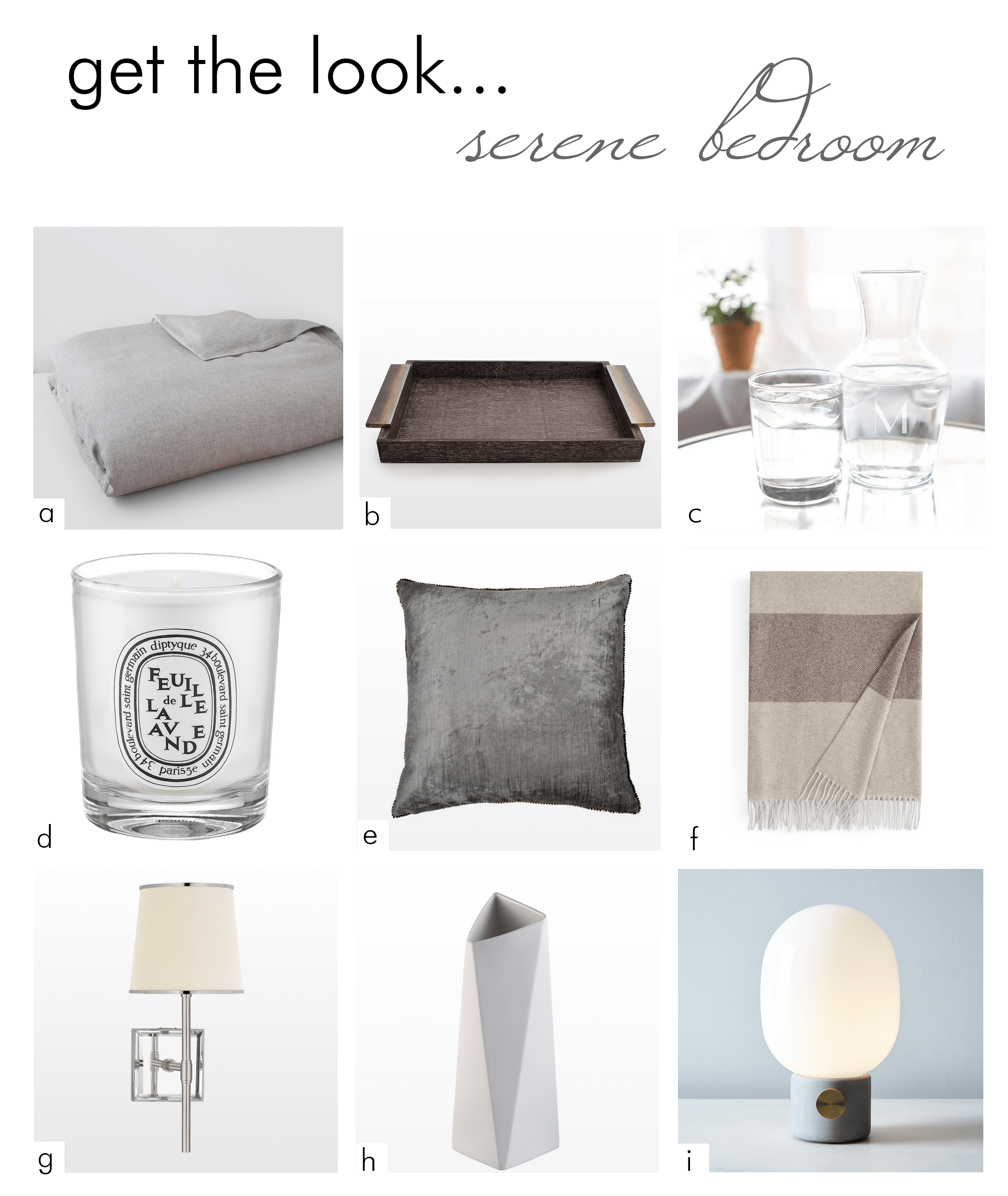 get the look... serene bedroom decor