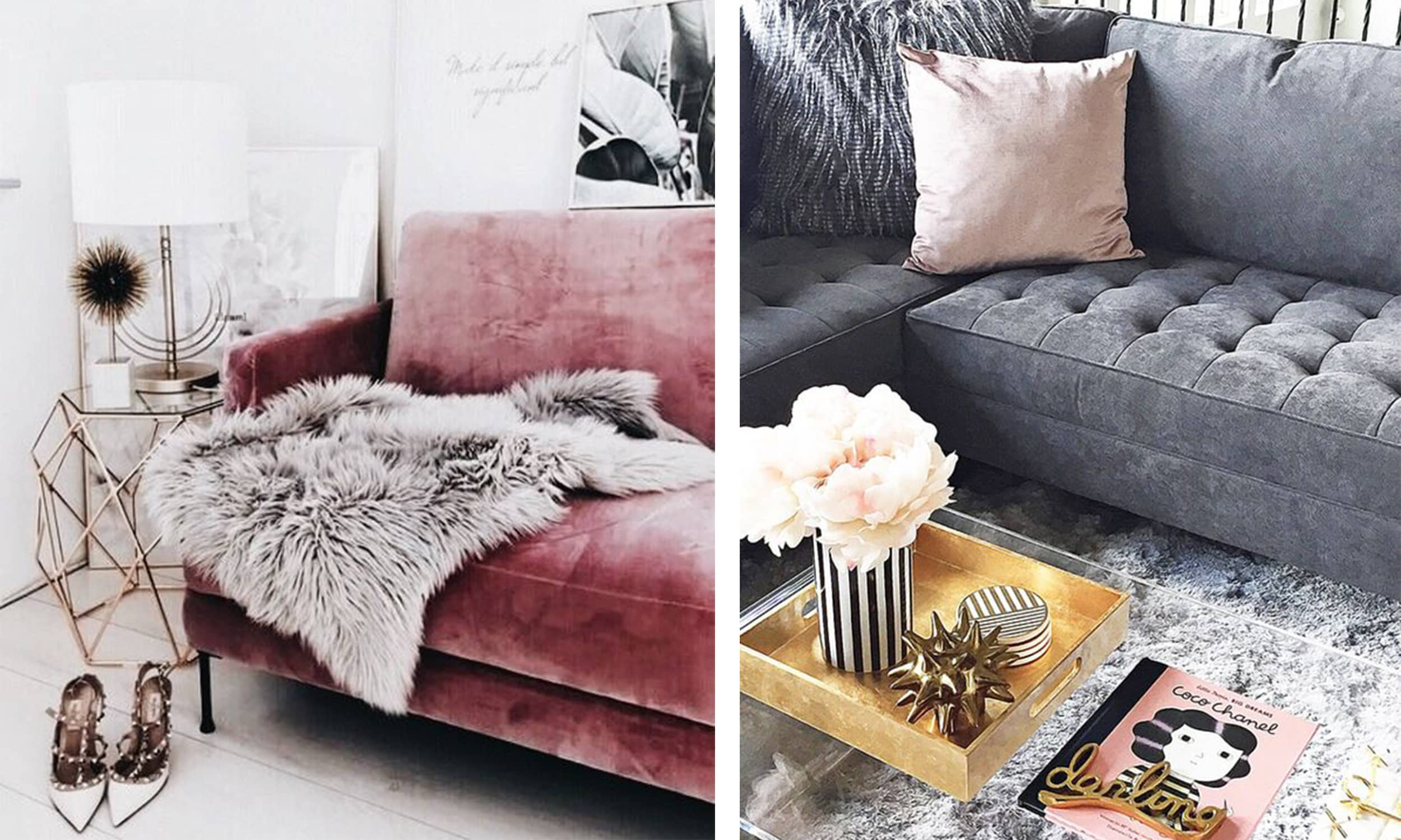 blush accents in the living room