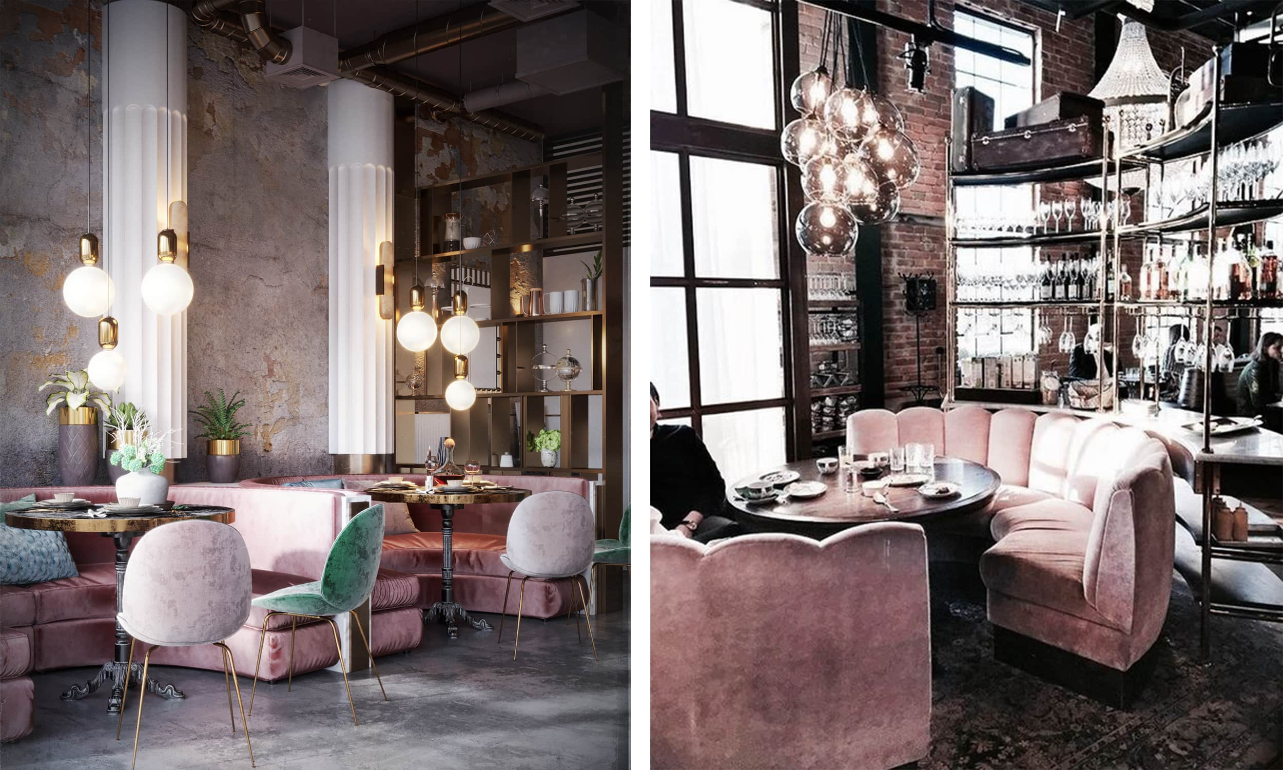blush accents in restaurant interiors