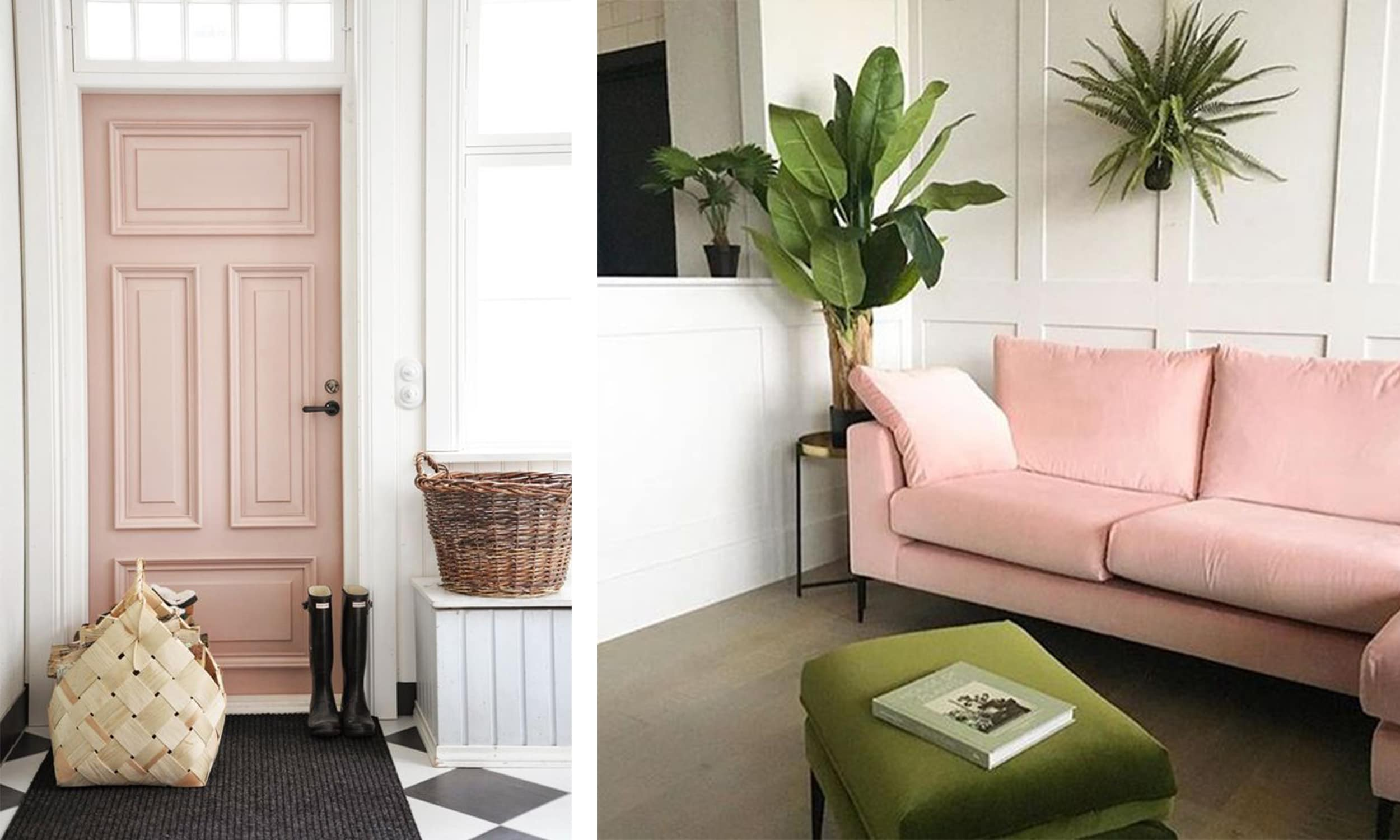 blush doorway entry and sofa with green and wicker accents