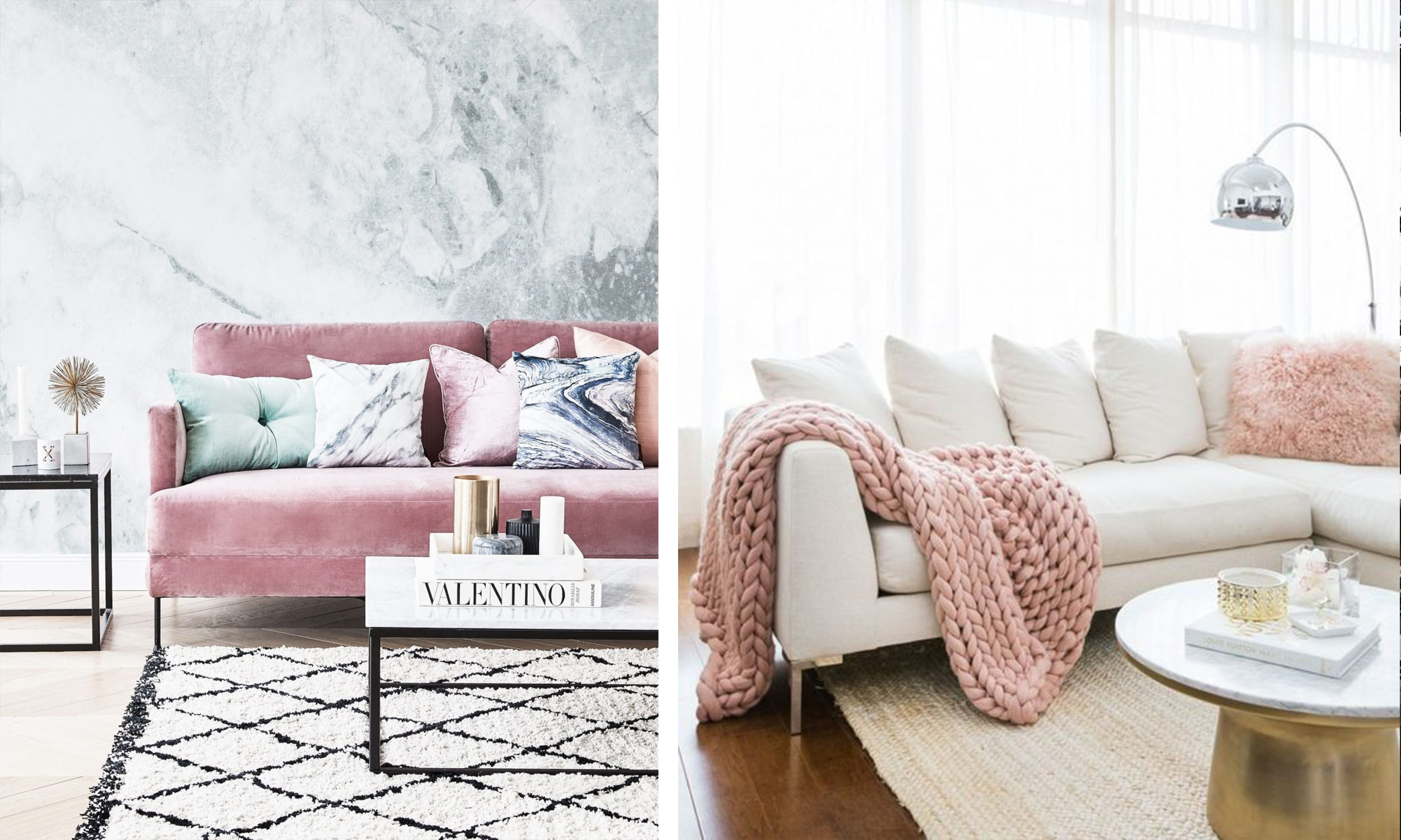 blush living room accents