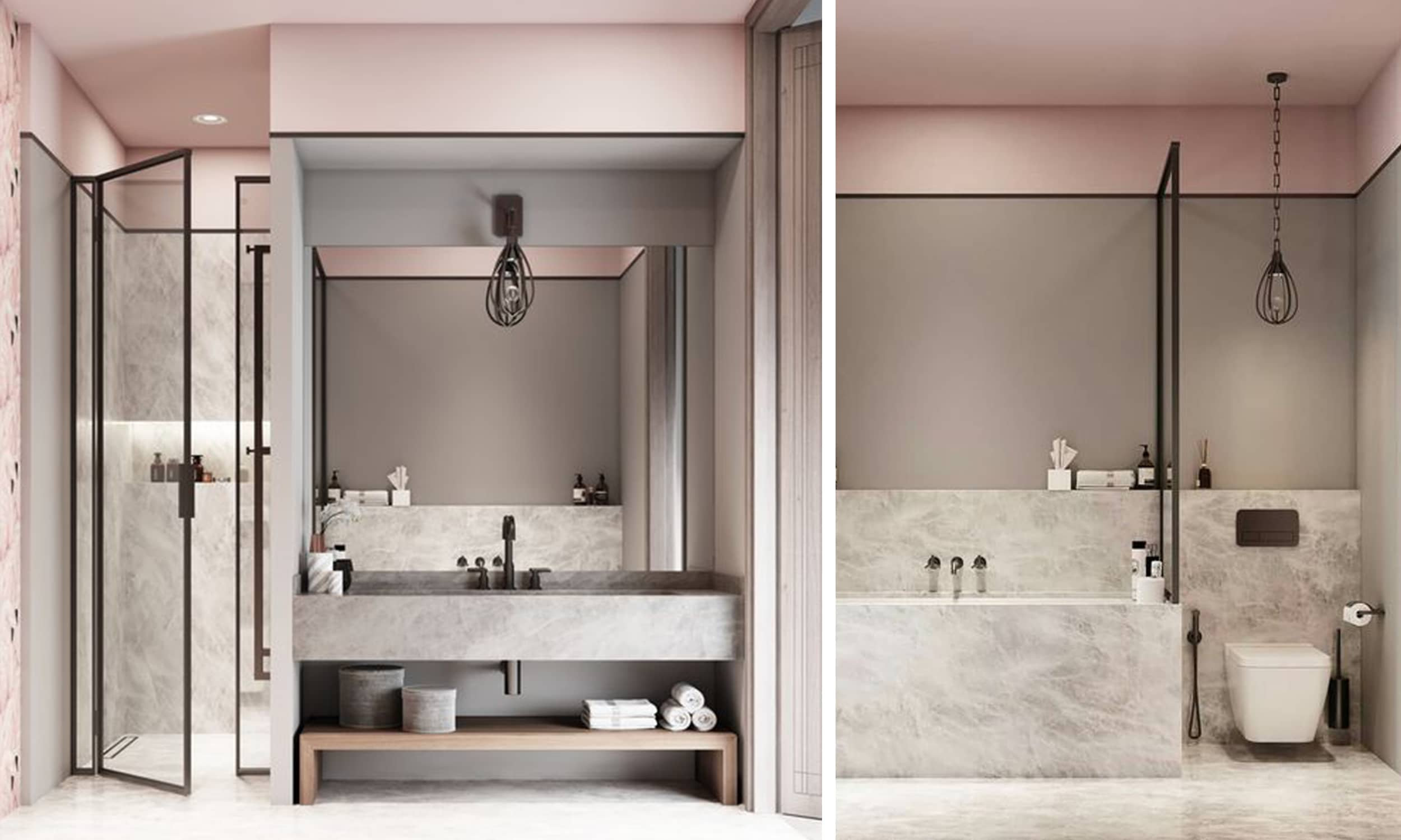 contemporary blush bathroom